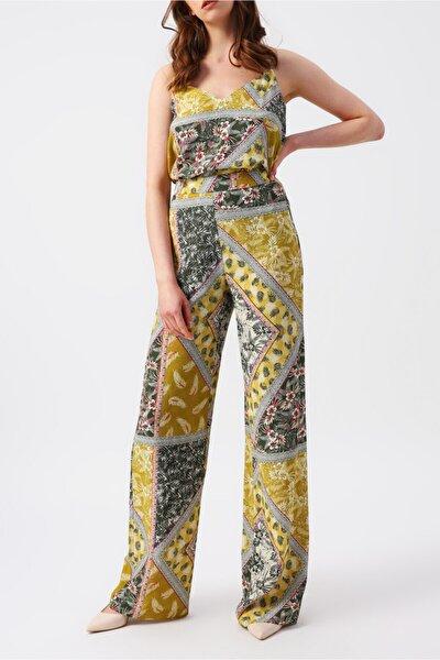 Kadın Yüksek Belli Desenli Bol Paça Pantolon