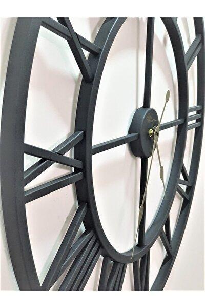 Dekoratif Mat Siyah Ferforje 76 Cm. Iskelet Duvar Saati Büyük Boy