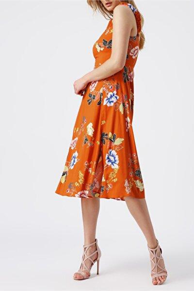 Kadın Kalın Askılı Kalp Yaka Desenli Midi Elbise