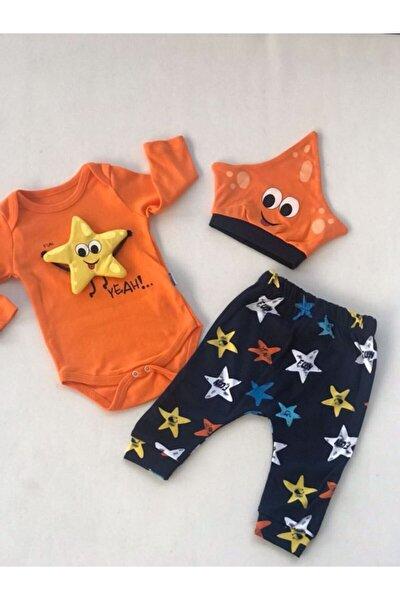 Baby Boss Yıldız Oyuncaklı Şapkalı Set Turuncu