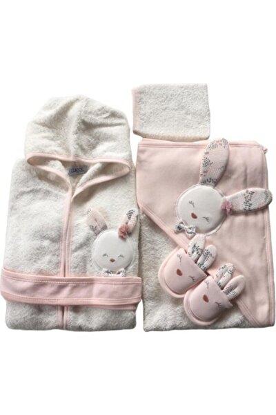 Bebek Sevimli Tavşan Havlu Bornoz Takımı Somon