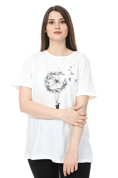 Kadın Büyük Beden O Yaka Baskılı Yarım Kol Örme T-shirt Ekru