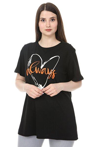 Kadın Büyük Beden O Yaka Baskılı Yarım Kol Örme T-shirt Siyah