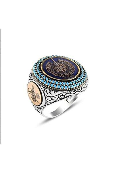 Arapça Nas Suresi Işlemeli Mineli Gümüş Yüzük