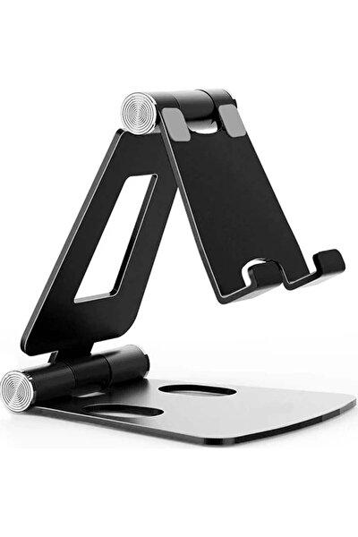 Masaüstü Metal Tablet ve Telefon Tutucu Stand Katlanabilir 270° Hareketli Siyah