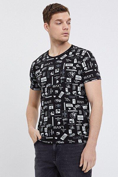 Erkek Slim Fit Baskılı Siyah T-shirt Lf2024904