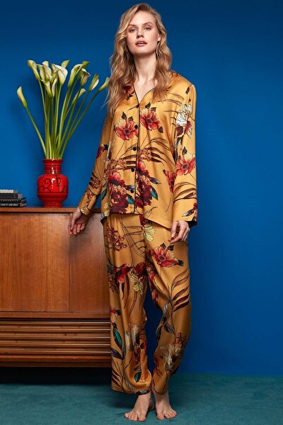 Penye Mood Kadın Gömlek Pantolon Pijama Takımı 8608 Sarı