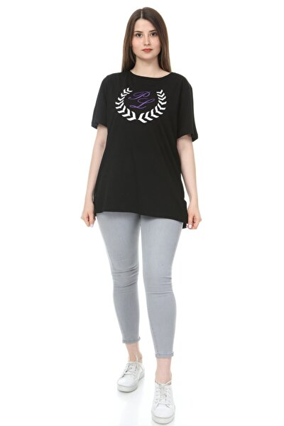 Kadın Siyah Büyük Beden O Yaka Baskılı Yarım Kol Örme T-shirt