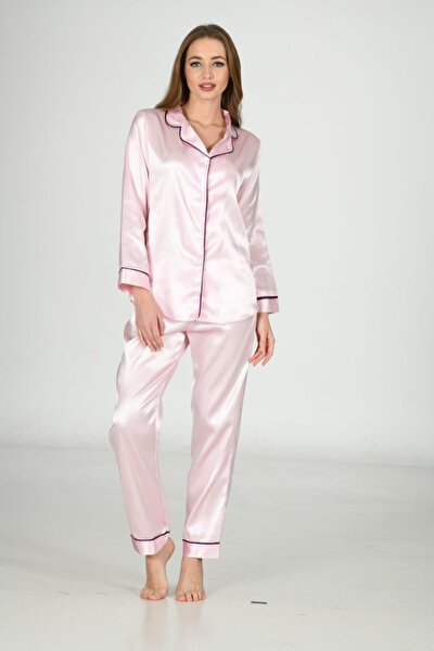 Kadın Pudra Saten Pijama Takımı 1625