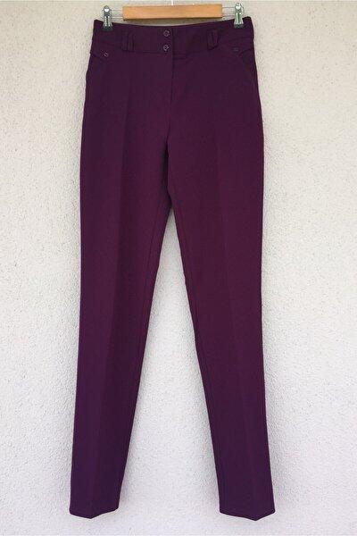 Kadın Mor Klasik Kesim Dar Paça Uzun Pantolon