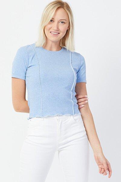 Kadın Mavi  Dikiş Detaylı T-shirt