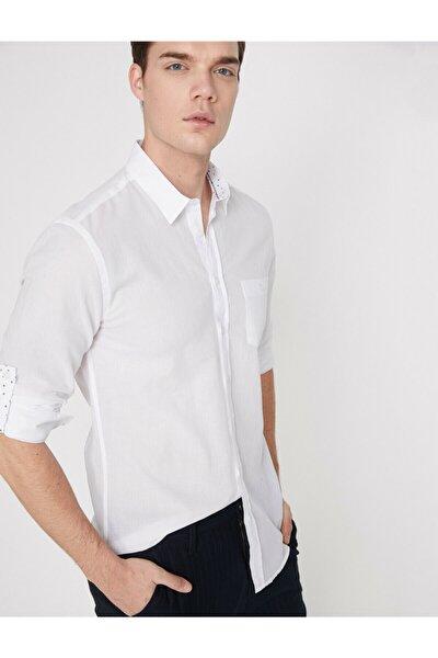 Erkek Beyaz Cep Detaylı Gömlek 9YAM61340BW