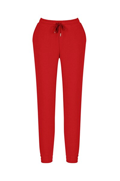 Kadın Kırmızı Pamuklu Rahat Kesim Sweat Pantolon