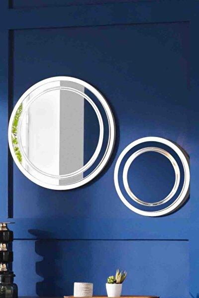 Dekoratif Ayna & Duvar Aynası & Konsol Aynası & Oval Ayna 2'li Set BEYAZ