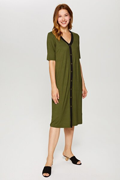 Kadın Koyu Haki Kontrast Biyeli Örme Elbise 60257 U60257