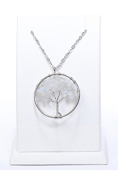 Hayat Ağacı Modeli Doğal Kristal Kuvars Taşı Doğal Taş Kolye