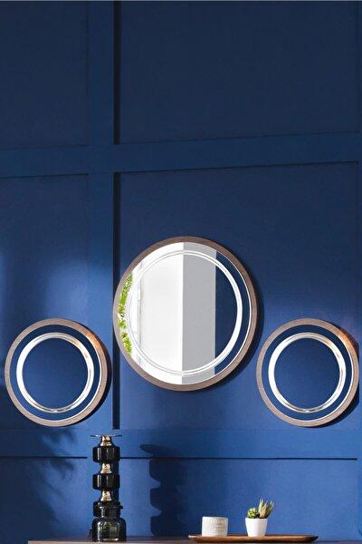 Dekoratif Ayna & Duvar Aynası & Konsol Aynası 3'lü Set Ceviz