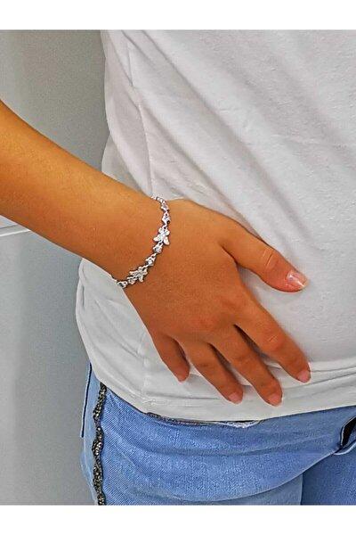 Silver Kadın Kelebek Figürlü Ithal Zirkon Taşlı Bileklik