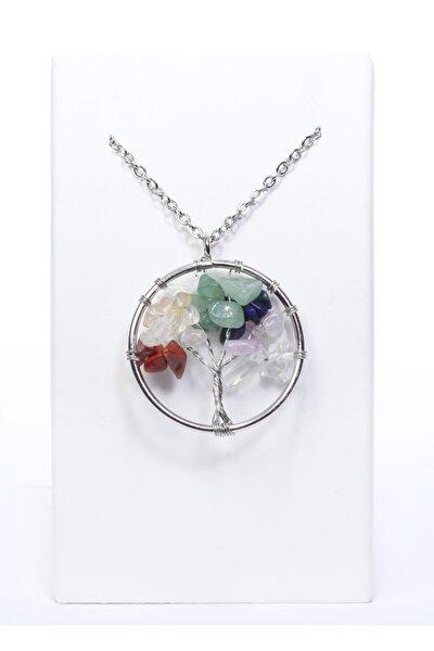 Hayat Ağacı Modeli 7 Çakra Doğal Taş Kolye