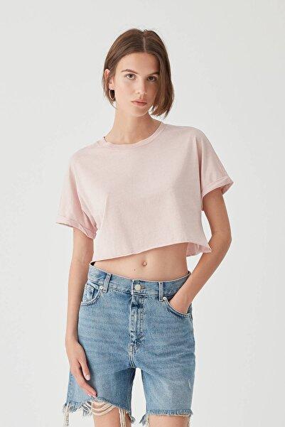 Kadın Pembe Kenarı Dikişsiz Crop Fit T-Shirt 05236327