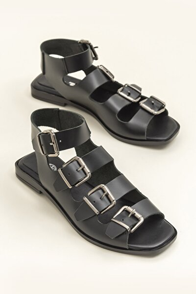 Hakiki Deri Rahel Siyah Kadın  Sandalet 20YEK3143754