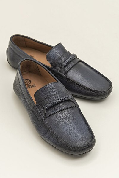 Hakiki Deri Acwel Lacivert Erkek Loafer Ayakkabı 20YKS9908