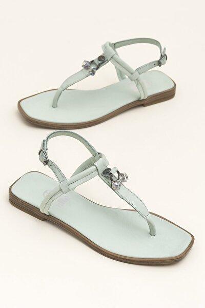 Hakiki Deri Despına Yeşil Kadın  Sandalet 20YEK3143732