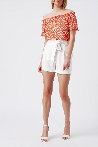 Kadın Mercan  Yaka Detaylı Desenli Bluz