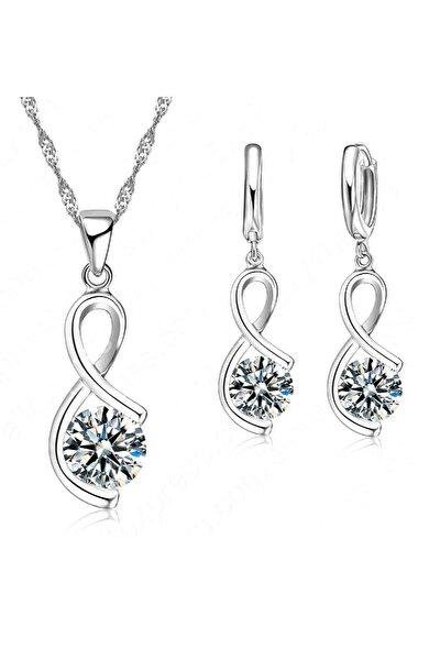 Kadın 925 Ayar Gümüş Işıltılı Sonsuzluk Aşk Kolye + Küpe Seti
