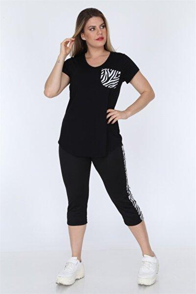 Kadın Siyah Zebra Şeritli Tayt Bluz Takım TK00018