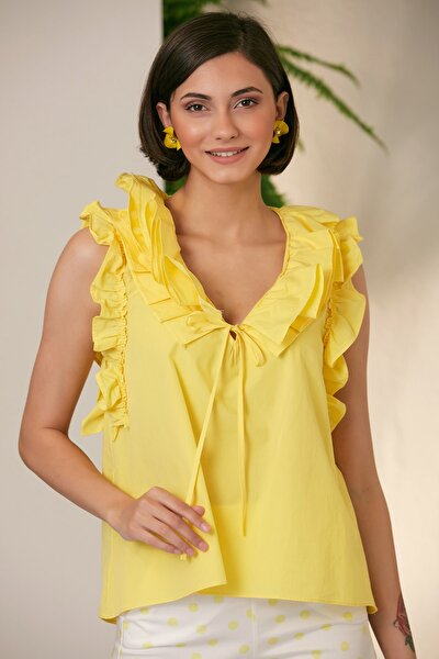 Kadın Sarı Yakası Ve Kolları Fırfırlı Dokuma Bluz