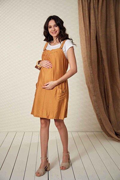 Kadın Düğme Detaylı Askılı Hardal Hamile Elbise