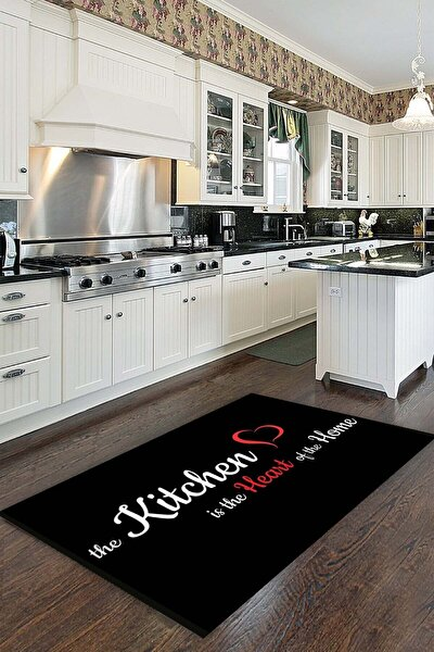 Siyah Kaymaz Tabanlı Makinede Yıkanabilir Mutfak Halısı Mt49