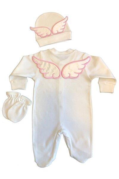 Kız Bebek Pembe Nakışlı Melek Kanatlı Tulum