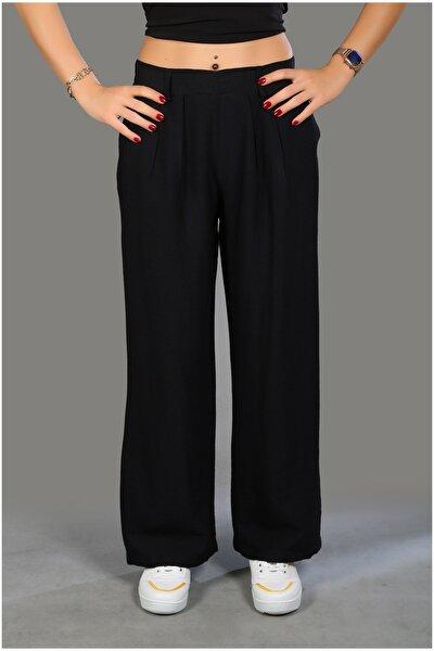 Kadın Siyah Cepli Pantolon