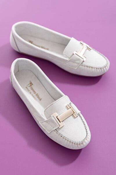 Gri Süet Kadın Loafer Ayakkabı TB2698-1