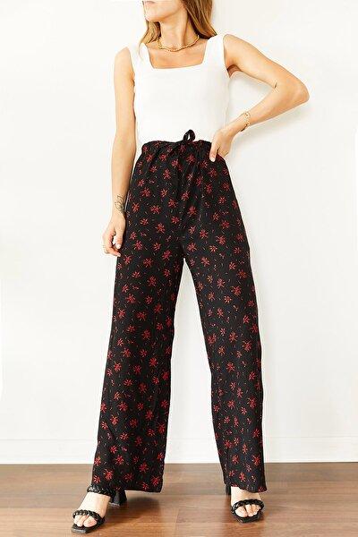 Kadın Siyah Çiçek Desenli Beli Lastikli Dokuma Pantolon 0YXK5-43896-02 8699443896021