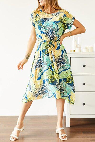 Kadın Multi Beli Lastikli Asimetrik Çiçek Desenli Elbise 0YXK6-43869-12 8699443869121