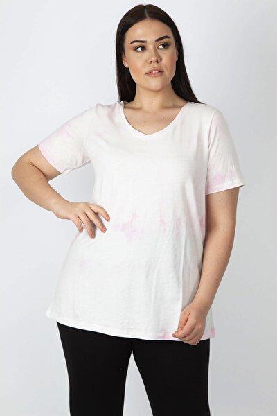 Kadın Pembe Pamuklu Kumaş Batik Desenli V Yakalı Tişört 65N16803