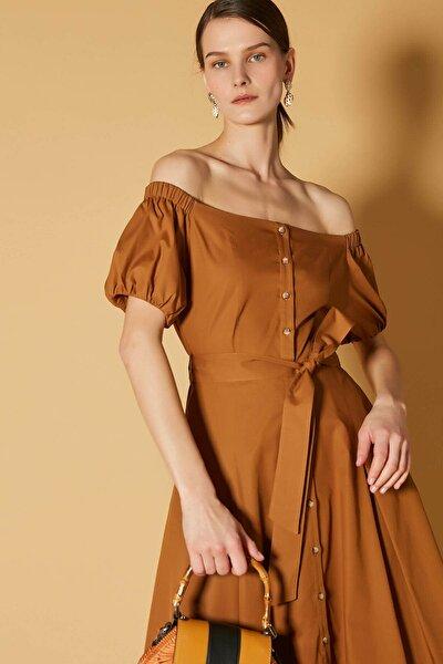 Kadın Kahverengi Düşük Omuz Elbise IS1200002462053
