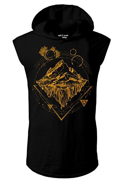 Unisex Siyah Traveler Tasarım Kapşonlu Kolsuz T-shirt