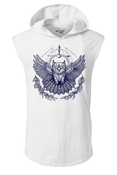 Unisex Beyaz Minerva Baykuş Tasarım Kapşonlu Kolsuz T-shirt