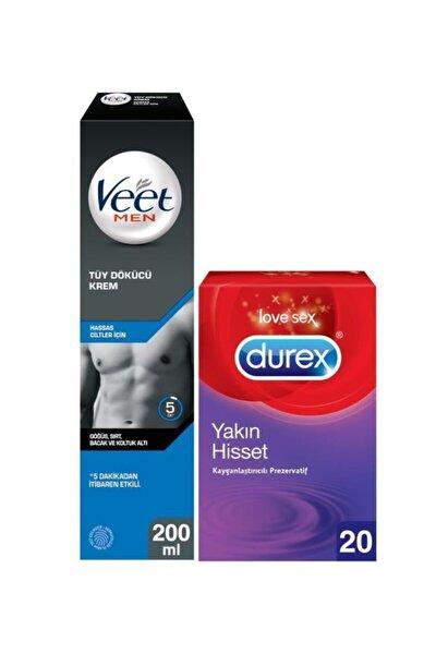 Hassas Erkeklere Özel Tüy Dökücü Krem 200ml+Durex Yakın Hisset Kayganlaştırıcılı Prezervatif 20'li
