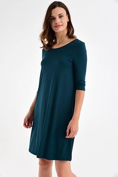 Kadın Yeşil Sırt Detay Elbise 20L6817