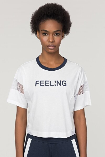 Beyaz Pamuklu Kadın T-Shirt FS-1118