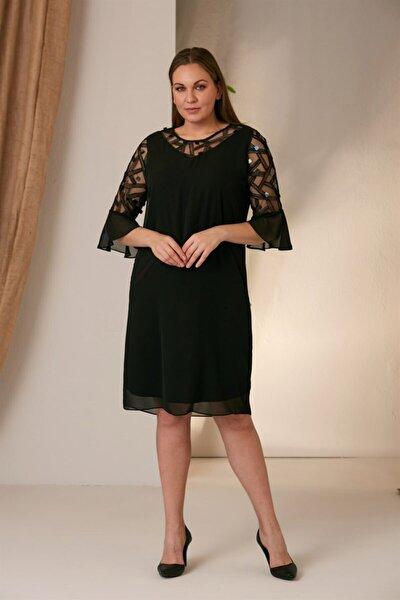 Kadın Siyah Kolları Tüllü Büyük Beden Elbise