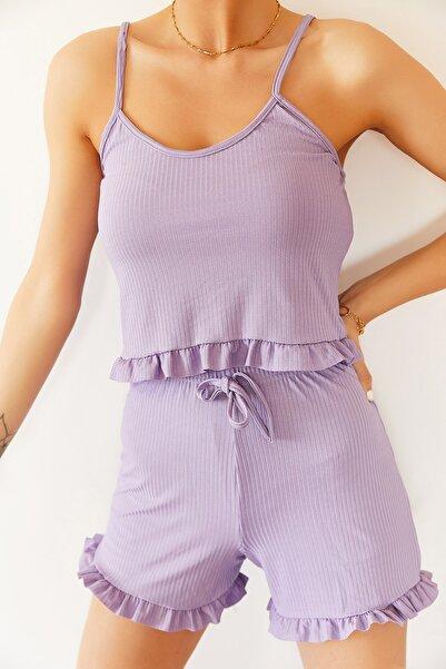 Kadın Lila Askılı Fırfırlı Pijama Takımı 0YZK8-10131
