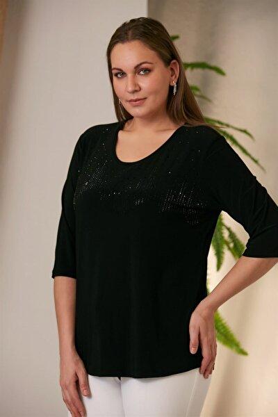 Kadın Siyah Baskılı Taş Detaylı Bluz