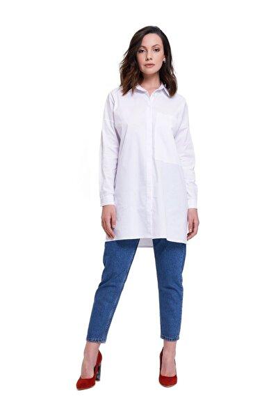 Büyük Cepli Tunik Gömlek (Beyaz)