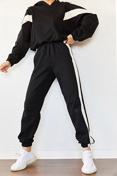 Kadın Siyah Parçalı Eşofman Takımı 0YZK8-10315